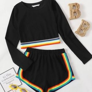 Teens/ kids Rainbow striped top and shorts